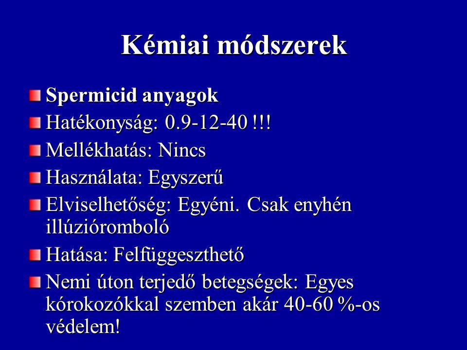 Kémiai módszerek Spermicid anyagok Hatékonyság: 0.9-12-40 !!! Mellékhatás: Nincs Használata: Egyszerű Elviselhetőség: Egyéni. Csak enyhén illúziórombo