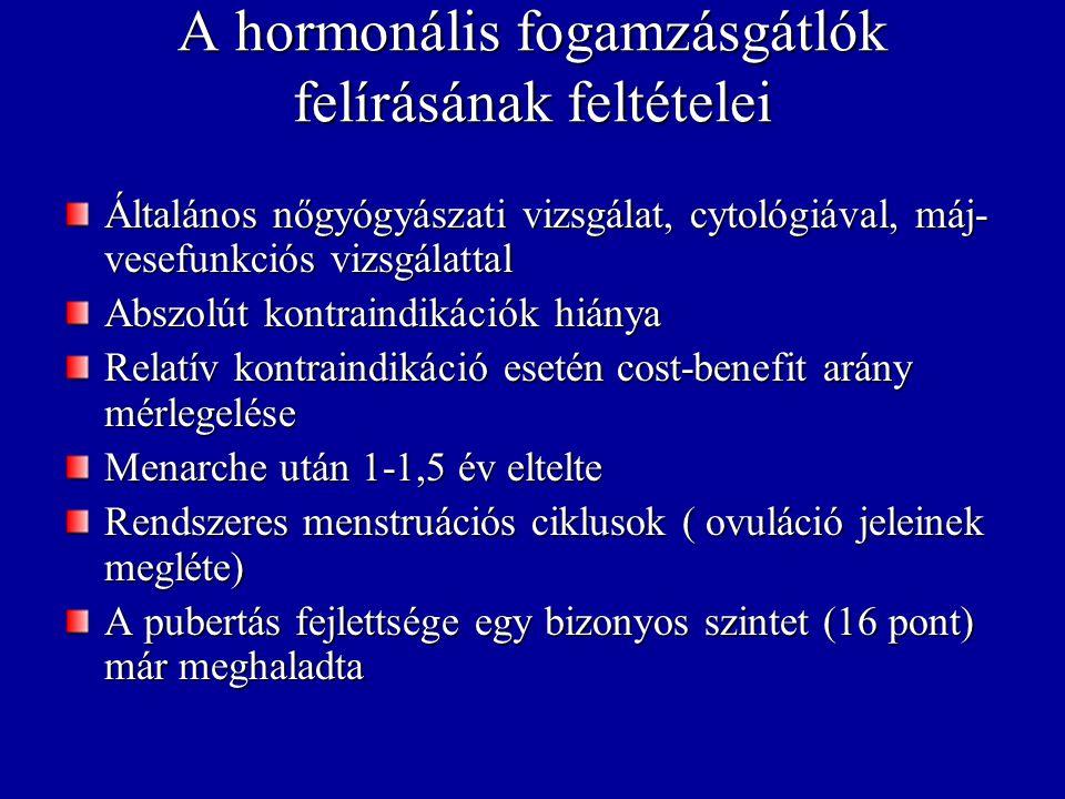 Hatásmód Ovuláció gátlása (GnRH gátlás→ FSH és LH felszabadulás gátlása→ nincs ovuláció) Méhkürtök motilitásának csökkenése Cervixnyák viszkozitásának növekedése (spermiumok és kórokozók számára kevésbé átjárható) Méhnyálkahártya alkalmatlanná tétele a pete beágyazódására (implantációgátlás) Gátolja a corpus luteum funkcióját