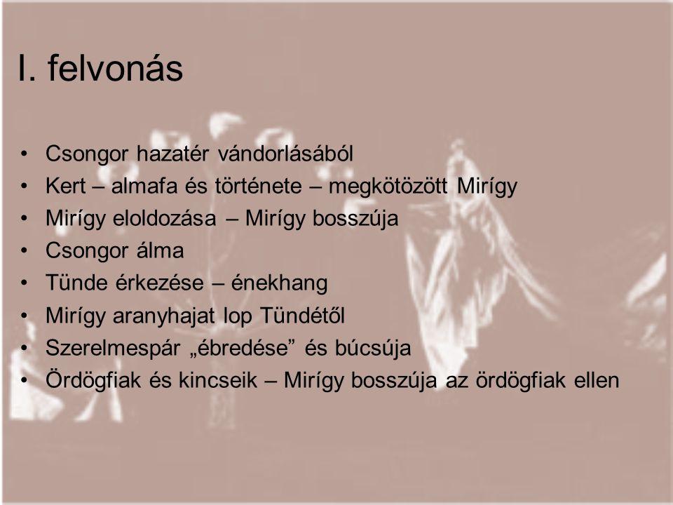 I. felvonás Csongor hazatér vándorlásából Kert – almafa és története – megkötözött Mirígy Mirígy eloldozása – Mirígy bosszúja Csongor álma Tünde érkez
