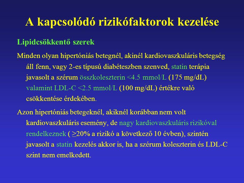 A kapcsolódó rizikófaktorok kezelése Lipidcsökkentő szerek Minden olyan hipertóniás betegnél, akinél kardiovaszkuláris betegség áll fenn, vagy 2-es típusú diabéteszben szenved, statin terápia javasolt a szérum összkoleszterin <4.5 mmol/L (175 mg/dL) valamint LDL-C <2.5 mmol/L (100 mg/dL) értékre való csökkentése érdekében.
