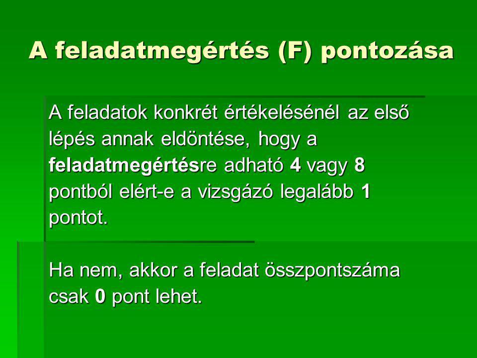 A feladatmegértés (F) pontozása A feladatok konkrét értékelésénél az első lépés annak eldöntése, hogy a feladatmegértésre adható 4 vagy 8 pontból elér