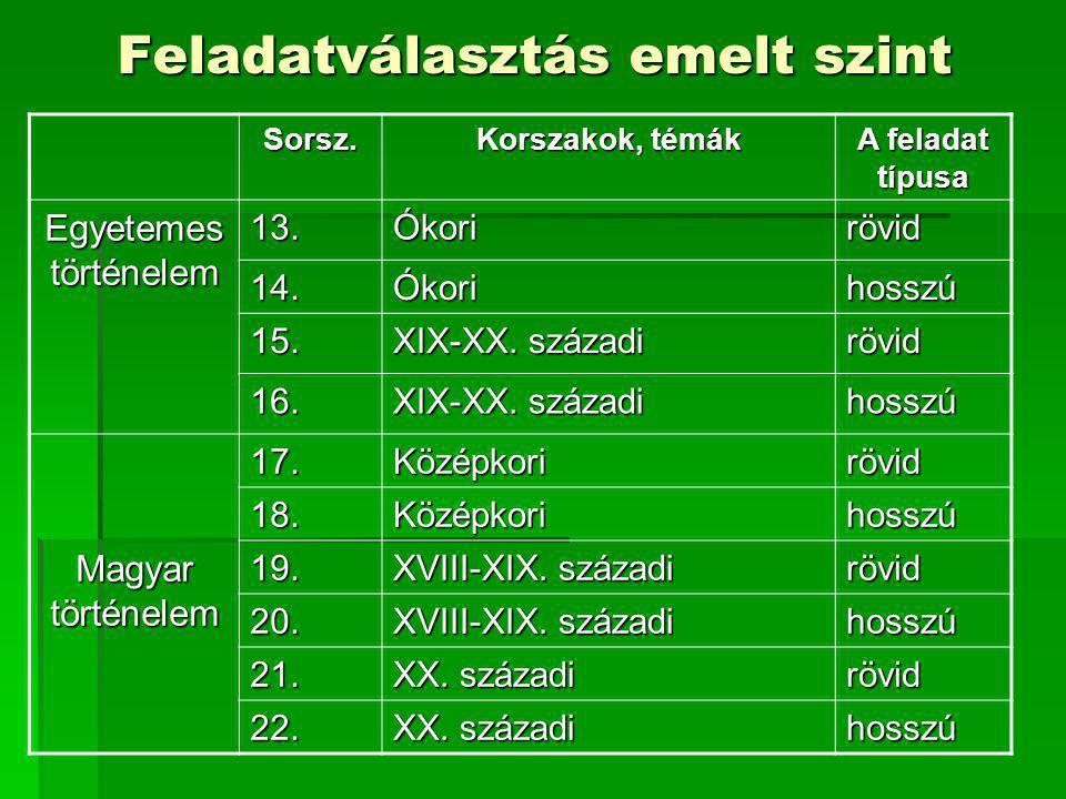 Feladatválasztás emelt szint Sorsz. Korszakok, témák A feladat típusa Egyetemes történelem 13.Ókorirövid 14.Ókorihosszú 15. XIX-XX. századi rövid 16.