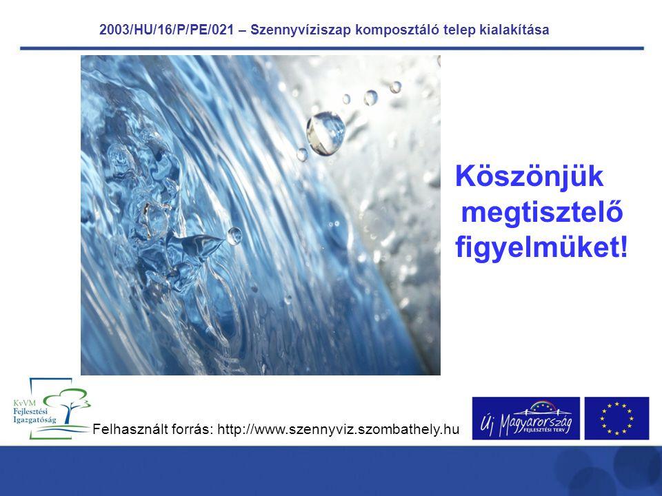Köszönjük megtisztelő figyelmüket! Felhasznált forrás: http://www.szennyviz.szombathely.hu