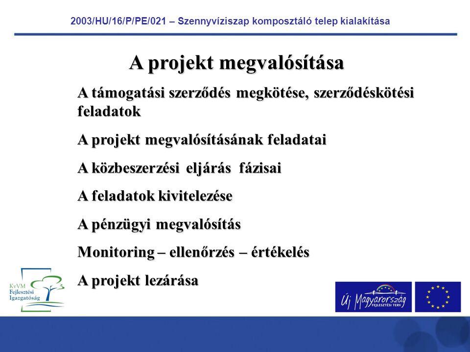 2003/HU/16/P/PE/021 – Szennyvíziszap komposztáló telep kialakítása PÁLYÁZAT Az Alap által támogatott fejlesztési program előkészítő munkái 2005.