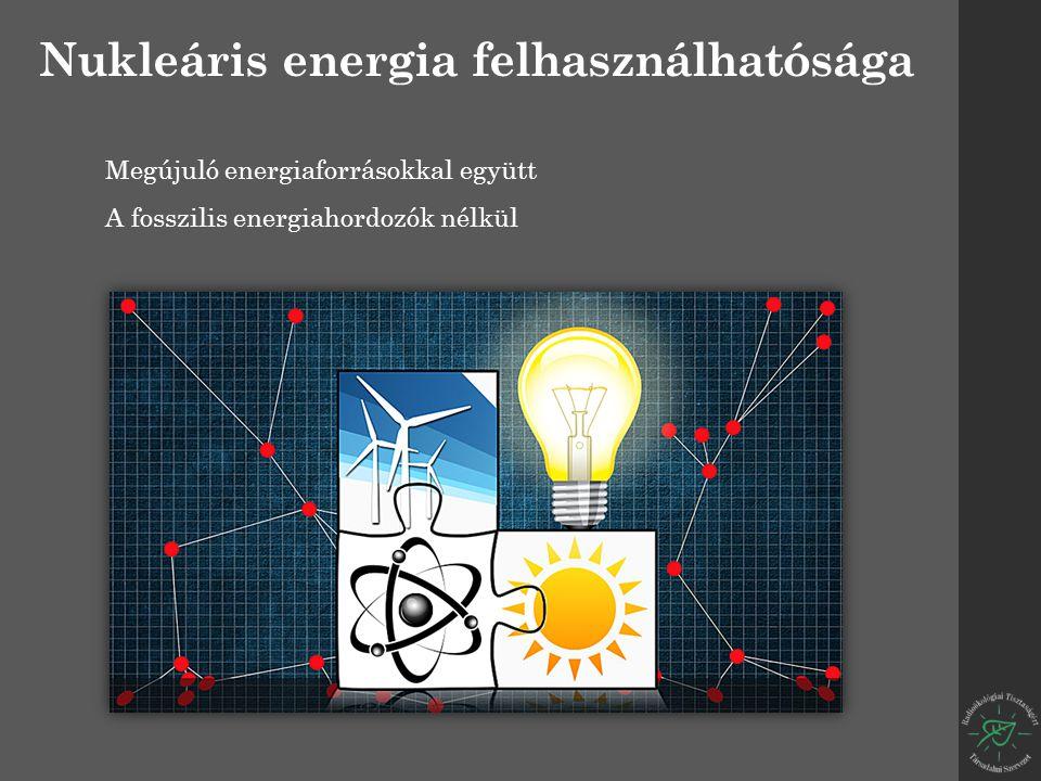 Nukleáris energia felhasználhatósága Megújuló energiaforrásokkal együtt A fosszilis energiahordozók nélkül