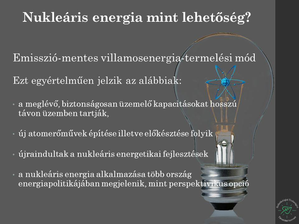 Emisszió-mentes villamosenergia-termelési mód Ezt egyértelműen jelzik az alábbiak: a meglévő, biztonságosan üzemelő kapacitásokat hosszú távon üzemben tartják, új atomerőművek építése illetve előkésztése folyik újraindultak a nukleáris energetikai fejlesztések a nukleáris energia alkalmazása több ország energiapolitikájában megjelenik, mint perspektivikus opció Nukleáris energia mint lehetőség