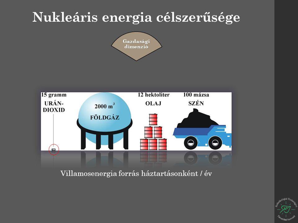 Nukleáris energia célszerűsége Gazdasági dimenzió Villamosenergia forrás háztartásonként / év
