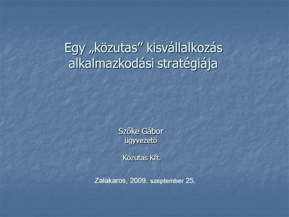 """Egy """"közutas kisvállalkozás alkalmazkodási stratégiája Szőke Gábor ügyvezető Közutas Kft."""