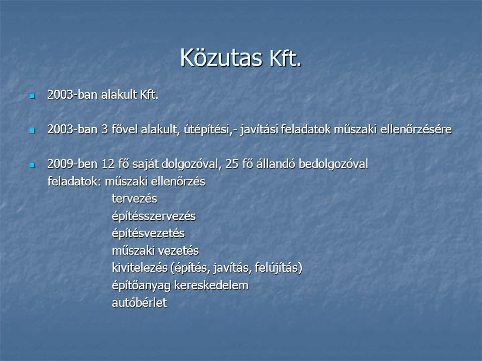 Közutas Kft. 2003-ban alakult Kft. 2003-ban alakult Kft.