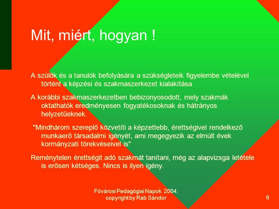 Fövárosi Pedagógiai Napok 2004. copyright by Rab Sándor 6 Mit, miért, hogyan .