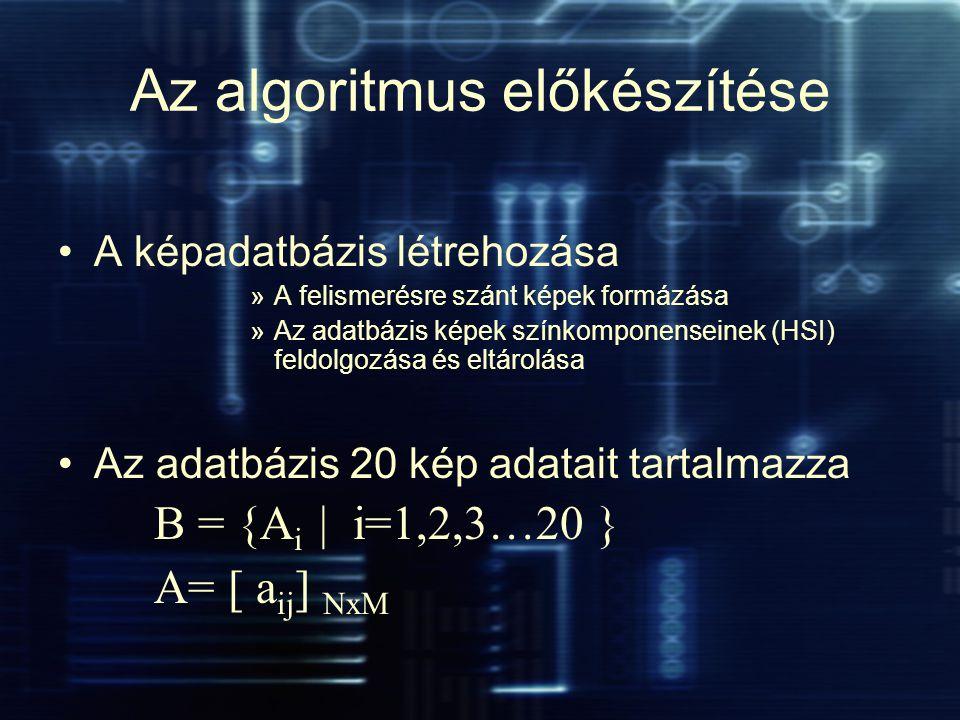 Az algoritmus előkészítése A képadatbázis létrehozása »A felismerésre szánt képek formázása »Az adatbázis képek színkomponenseinek (HSI) feldolgozása