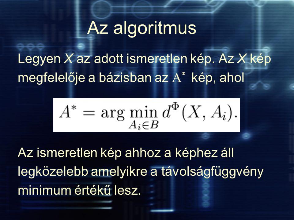 Az algoritmus Legyen X az adott ismeretlen kép. Az X kép megfelelője a bázisban az A * kép, ahol Az ismeretlen kép ahhoz a képhez áll legközelebb amel
