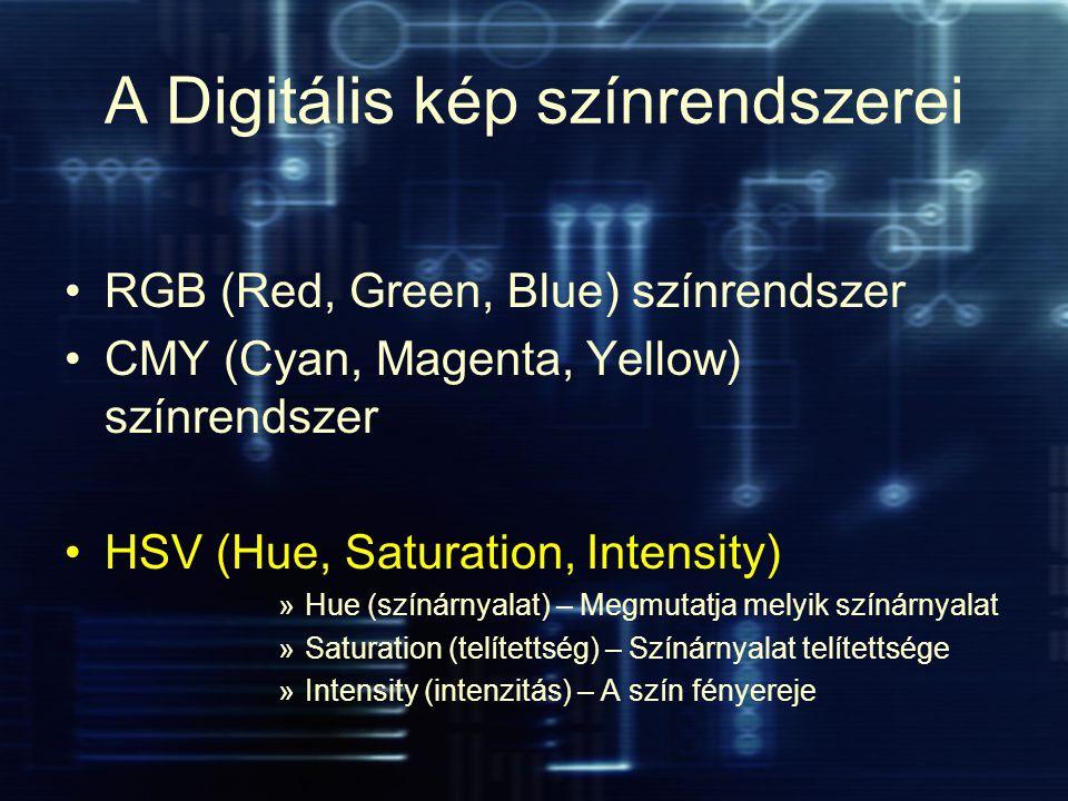 A Digitális kép színrendszerei RGB (Red, Green, Blue) színrendszer CMY (Cyan, Magenta, Yellow) színrendszer HSV (Hue, Saturation, Intensity) »Hue (szí