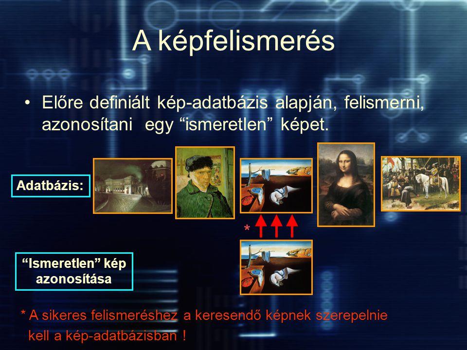 """A képfelismerés Előre definiált kép-adatbázis alapján, felismerni, azonosítani egy """"ismeretlen"""" képet. Adatbázis: """"Ismeretlen"""" kép azonosítása * A sik"""