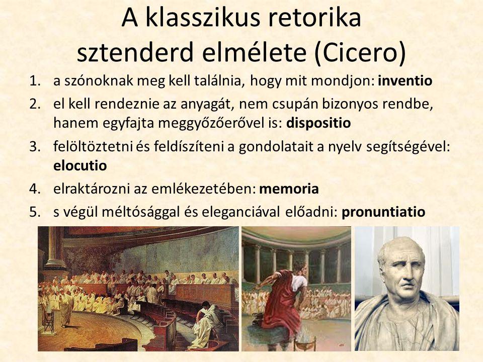 A klasszikus retorika sztenderd elmélete (Cicero) 1.a szónoknak meg kell találnia, hogy mit mondjon: inventio 2.el kell rendeznie az anyagát, nem csup