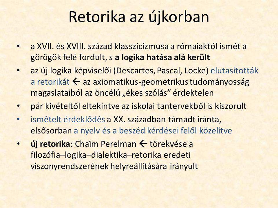 Retorika az újkorban a XVII. és XVIII. század klasszicizmusa a rómaiaktól ismét a görögök felé fordult, s a logika hatása alá került az új logika képv