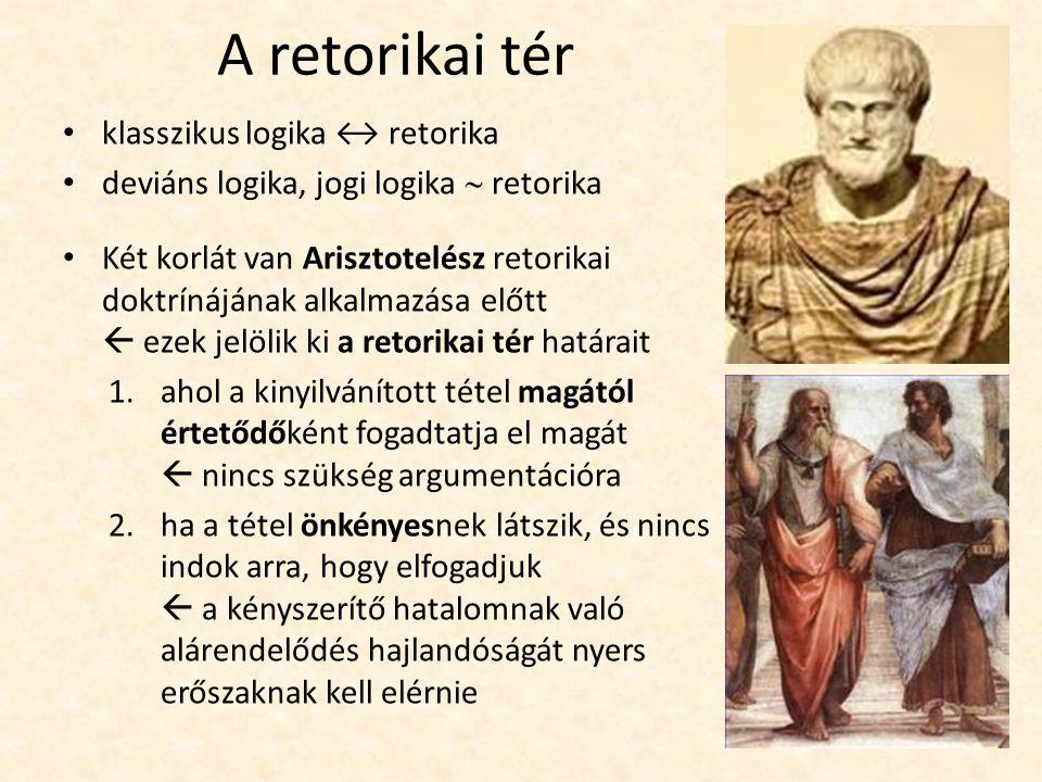 A retorikai tér klasszikus logika ↔ retorika deviáns logika, jogi logika  retorika Két korlát van Arisztotelész retorikai doktrínájának alkalmazása e