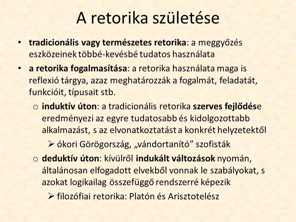 A retorika születése tradicionális vagy természetes retorika: a meggyőzés eszközeinek többé-kevésbé tudatos használata a retorika fogalmasítása: a ret