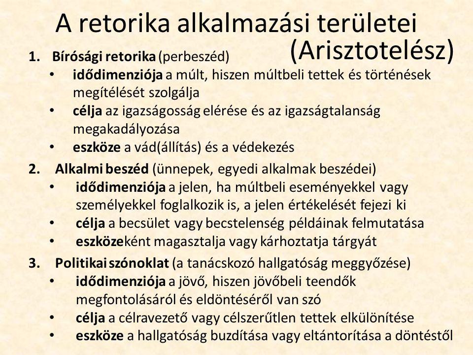 A retorika alkalmazási területei 1.Bírósági retorika (perbeszéd) idődimenziója a múlt, hiszen múltbeli tettek és történések megítélését szolgálja célj