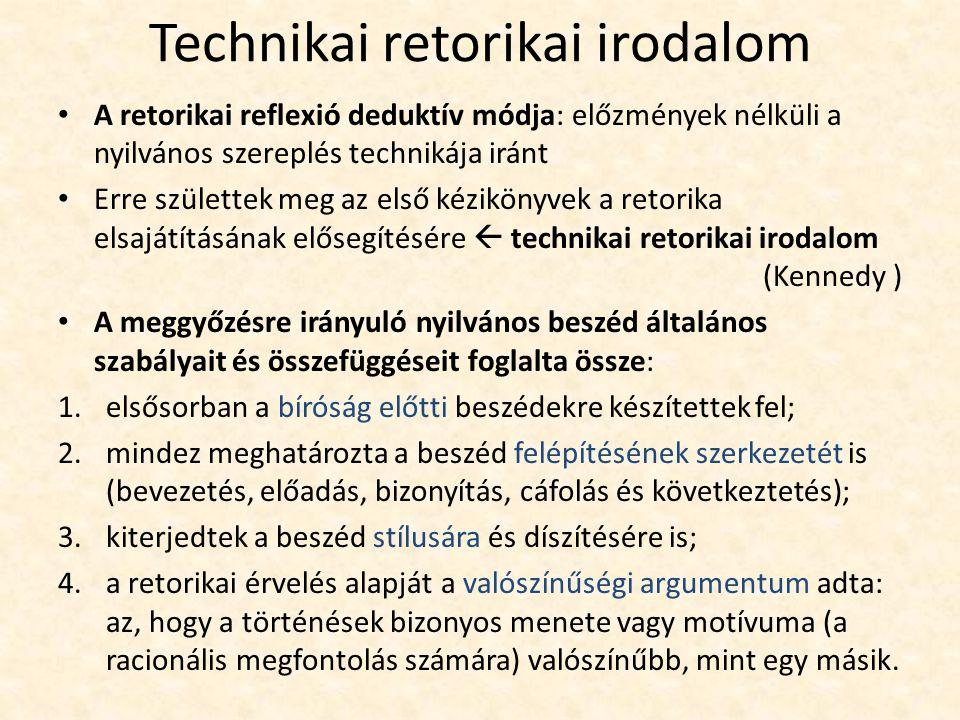 Technikai retorikai irodalom A retorikai reflexió deduktív módja: előzmények nélküli a nyilvános szereplés technikája iránt Erre születtek meg az első