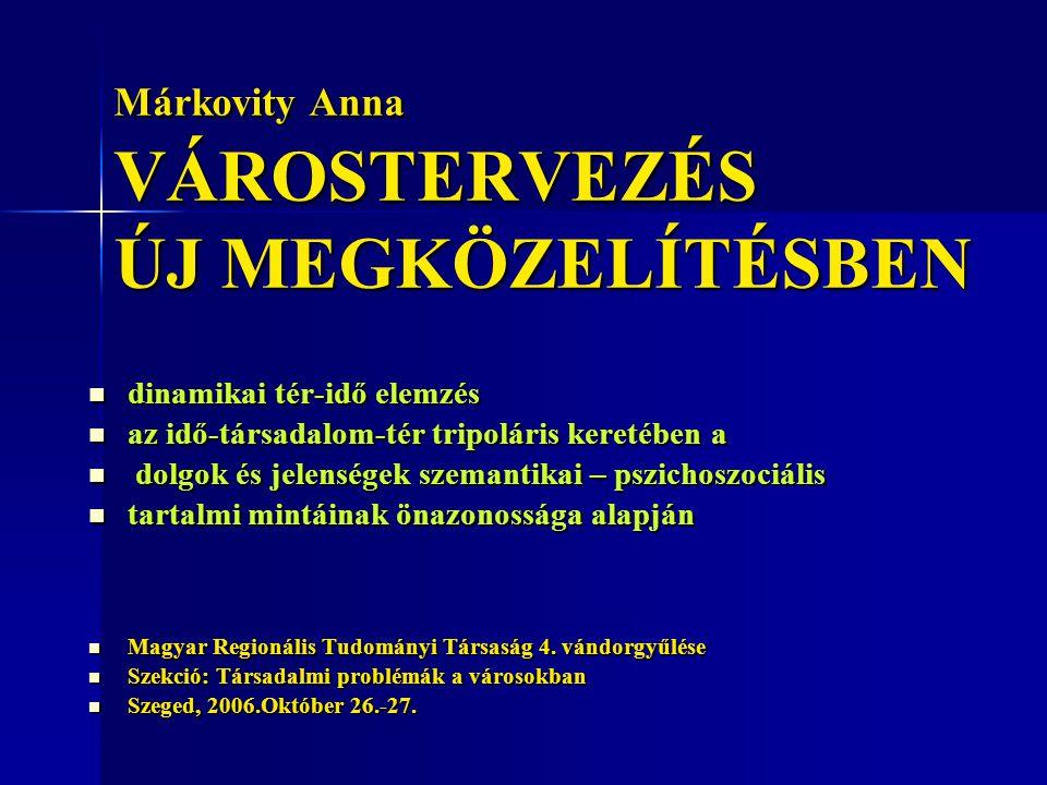 Márkovity Anna VÁROSTERVEZÉS ÚJ MEGKÖZELÍTÉSBEN dinamikai tér-idő elemzés dinamikai tér-idő elemzés az idő-társadalom-tér tripoláris keretében a az id