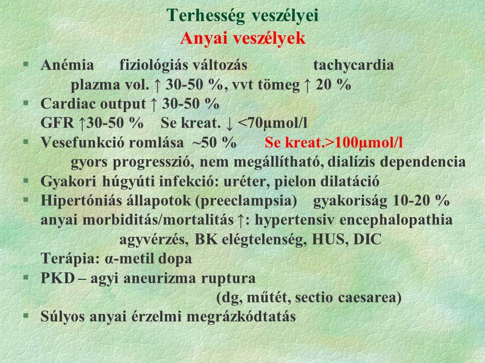 Terhesség veszélyei Anyai veszélyek §Anémiafiziológiás változás tachycardia plazma vol.