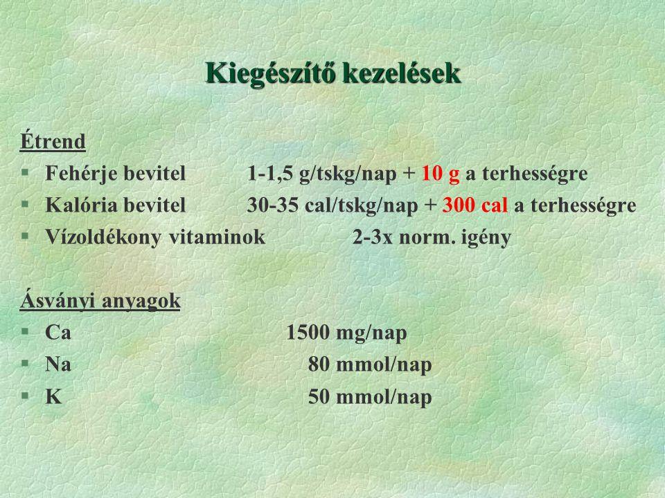 Kiegészítő kezelések Étrend §Fehérje bevitel 1-1,5 g/tskg/nap + 10 g a terhességre §Kalória bevitel 30-35 cal/tskg/nap + 300 cal a terhességre §Vízoldékony vitaminok2-3x norm.