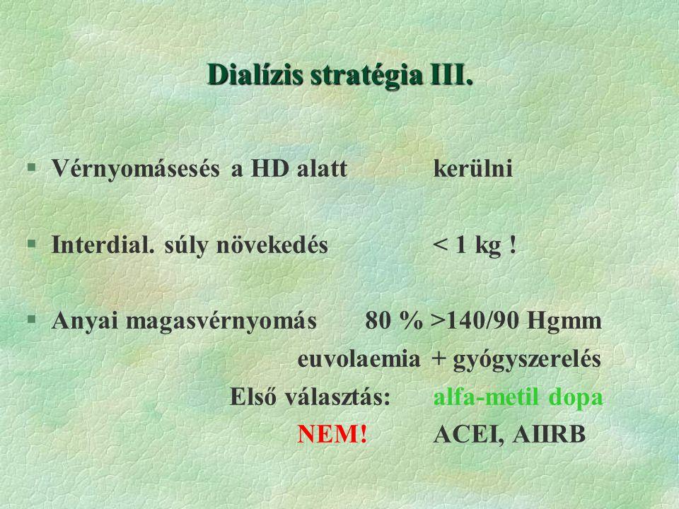 Dialízis stratégia III.§Vérnyomásesés a HD alattkerülni §Interdial.