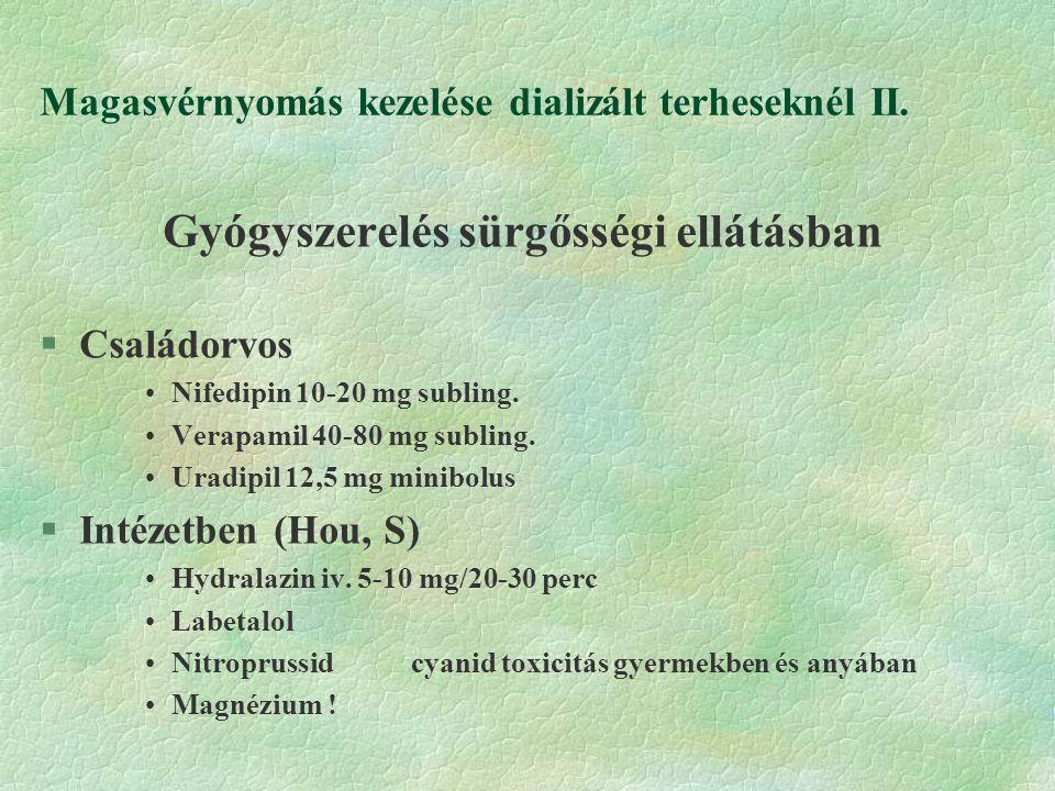 Magasvérnyomás kezelése dializált terheseknél II.