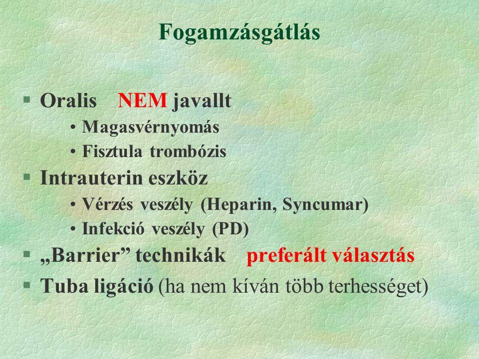 """Fogamzásgátlás §OralisNEM javallt Magasvérnyomás Fisztula trombózis §Intrauterin eszköz Vérzés veszély (Heparin, Syncumar) Infekció veszély (PD) §""""Barrier technikák preferált választás §Tuba ligáció (ha nem kíván több terhességet)"""