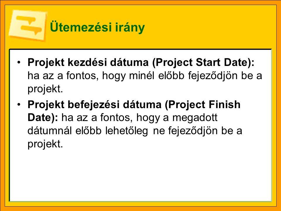 Ütemezési irány Projekt kezdési dátuma (Project Start Date): ha az a fontos, hogy minél előbb fejeződjön be a projekt.