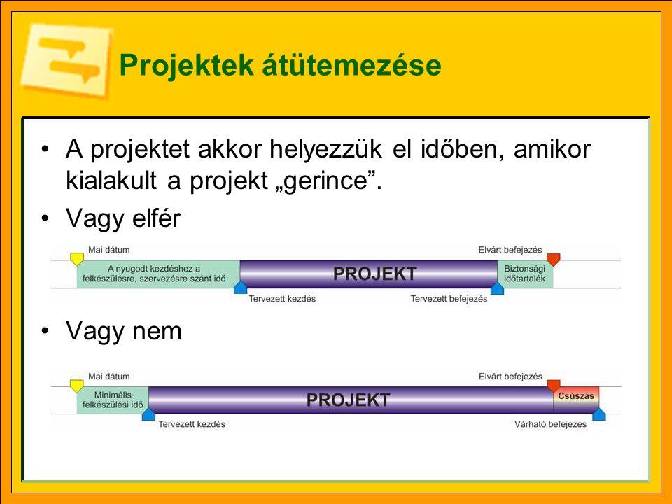 """Projektek átütemezése A projektet akkor helyezzük el időben, amikor kialakult a projekt """"gerince ."""