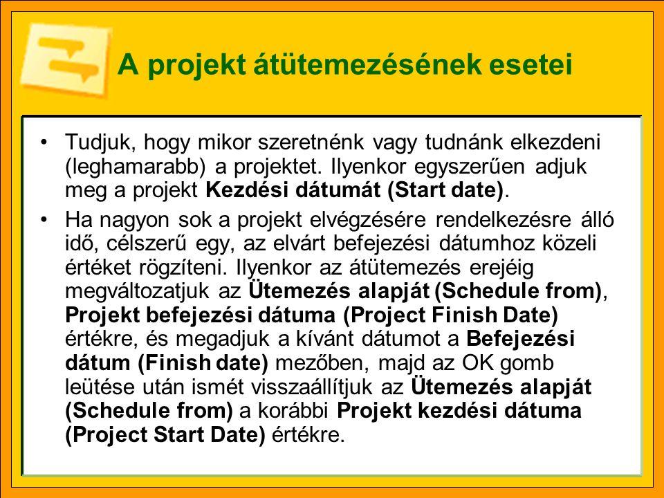 A projekt átütemezésének esetei Tudjuk, hogy mikor szeretnénk vagy tudnánk elkezdeni (leghamarabb) a projektet.