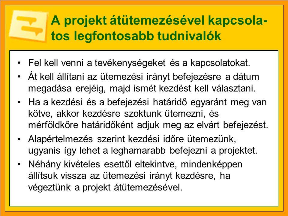 A projekt átütemezésével kapcsola- tos legfontosabb tudnivalók Fel kell venni a tevékenységeket és a kapcsolatokat.