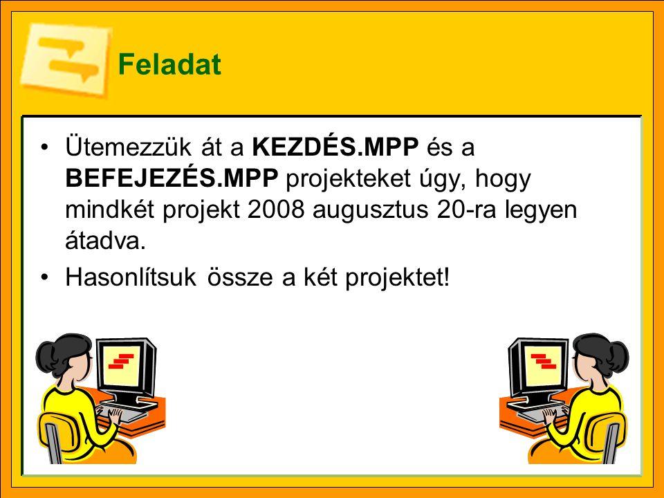 Feladat Ütemezzük át a KEZDÉS.MPP és a BEFEJEZÉS.MPP projekteket úgy, hogy mindkét projekt 2008 augusztus 20-ra legyen átadva.