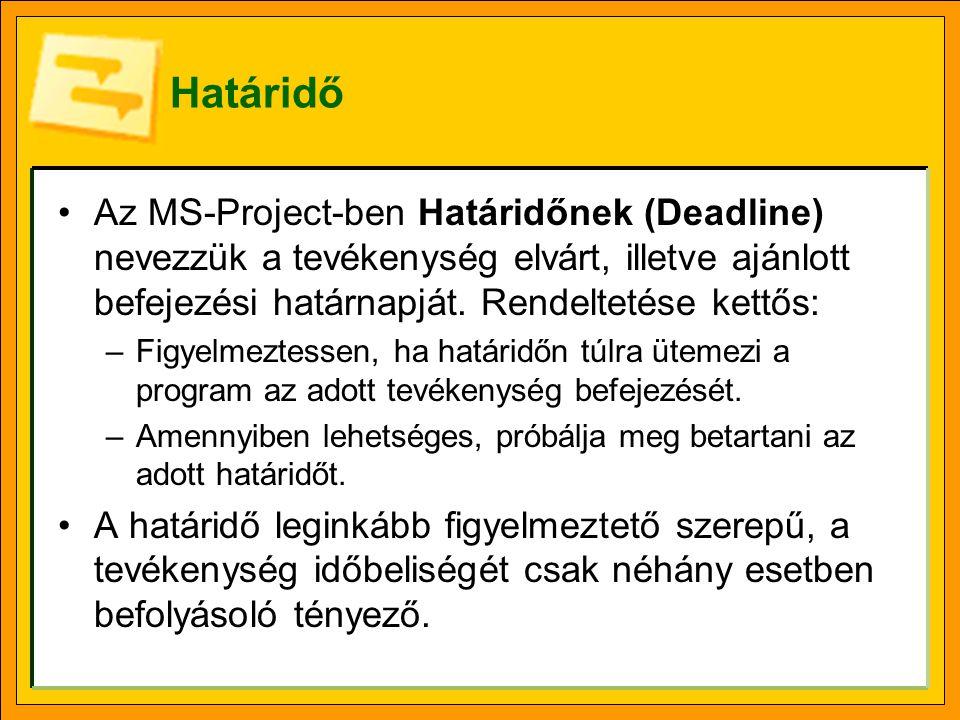 Határidő Az MS-Project-ben Határidőnek (Deadline) nevezzük a tevékenység elvárt, illetve ajánlott befejezési határnapját.