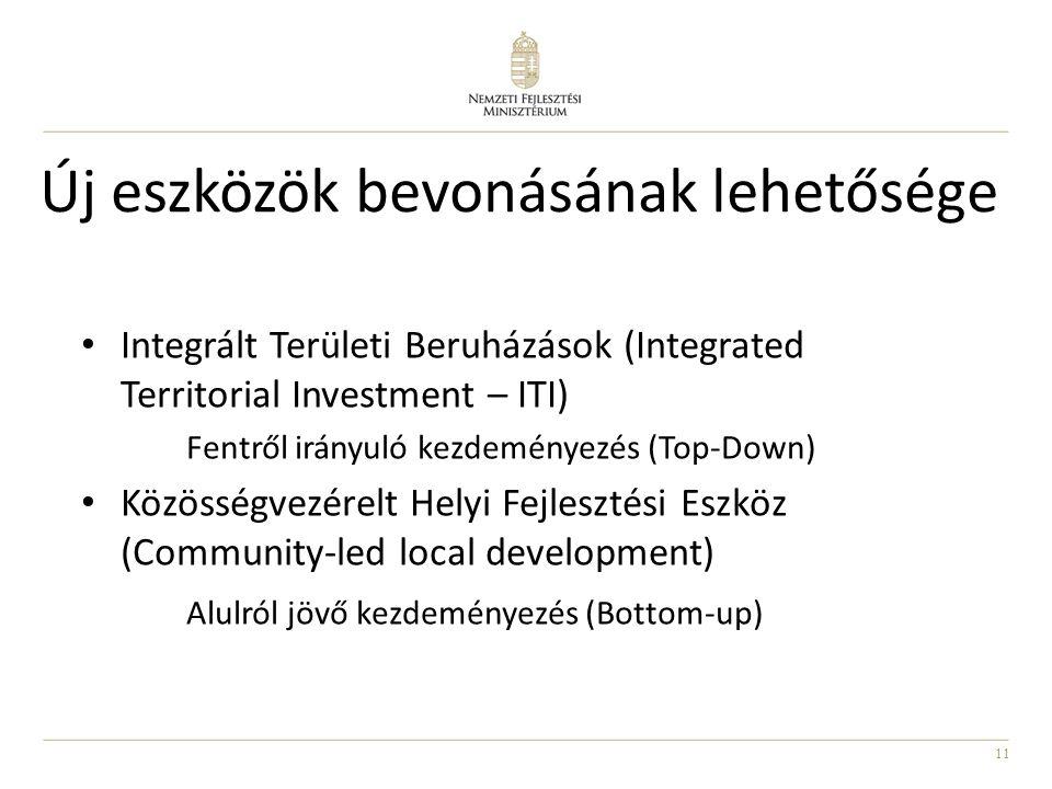 11 Új eszközök bevonásának lehetősége Integrált Területi Beruházások (Integrated Territorial Investment – ITI) Fentről irányuló kezdeményezés (Top-Down) Közösségvezérelt Helyi Fejlesztési Eszköz (Community-led local development) Alulról jövő kezdeményezés (Bottom-up)