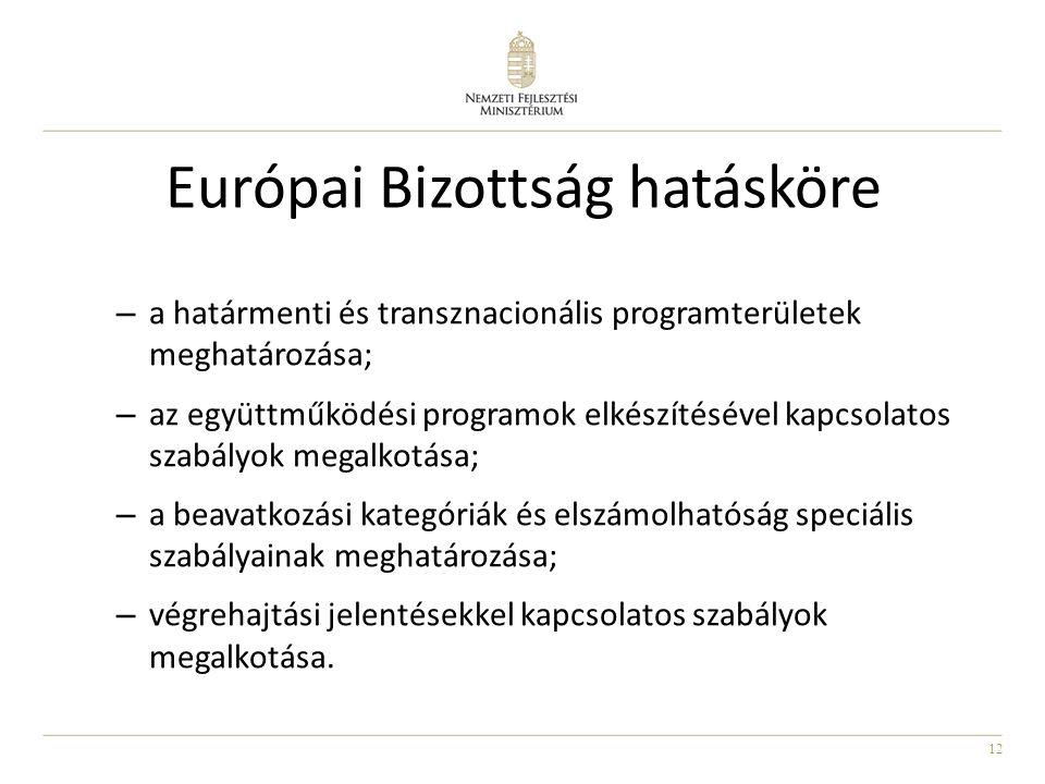 12 Európai Bizottság hatásköre – a határmenti és transznacionális programterületek meghatározása; – az együttműködési programok elkészítésével kapcsolatos szabályok megalkotása; – a beavatkozási kategóriák és elszámolhatóság speciális szabályainak meghatározása; – végrehajtási jelentésekkel kapcsolatos szabályok megalkotása.