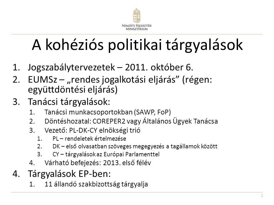 """2 A kohéziós politikai tárgyalások 1.Jogszabálytervezetek – 2011. október 6. 2.EUMSz – """"rendes jogalkotási eljárás"""" (régen: együttdöntési eljárás) 3.T"""