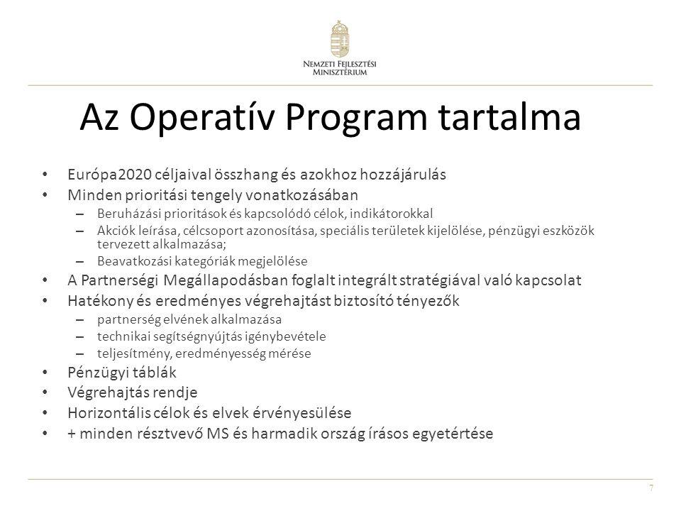 7 Az Operatív Program tartalma Európa2020 céljaival összhang és azokhoz hozzájárulás Minden prioritási tengely vonatkozásában – Beruházási prioritások és kapcsolódó célok, indikátorokkal – Akciók leírása, célcsoport azonosítása, speciális területek kijelölése, pénzügyi eszközök tervezett alkalmazása; – Beavatkozási kategóriák megjelölése A Partnerségi Megállapodásban foglalt integrált stratégiával való kapcsolat Hatékony és eredményes végrehajtást biztosító tényezők – partnerség elvének alkalmazása – technikai segítségnyújtás igénybevétele – teljesítmény, eredményesség mérése Pénzügyi táblák Végrehajtás rendje Horizontális célok és elvek érvényesülése + minden résztvevő MS és harmadik ország írásos egyetértése