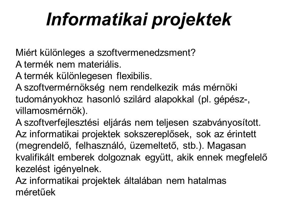 Informatikai projektek Miért különleges a szoftvermenedzsment? A termék nem materiális. A termék különlegesen flexibilis. A szoftvermérnökség nem rend