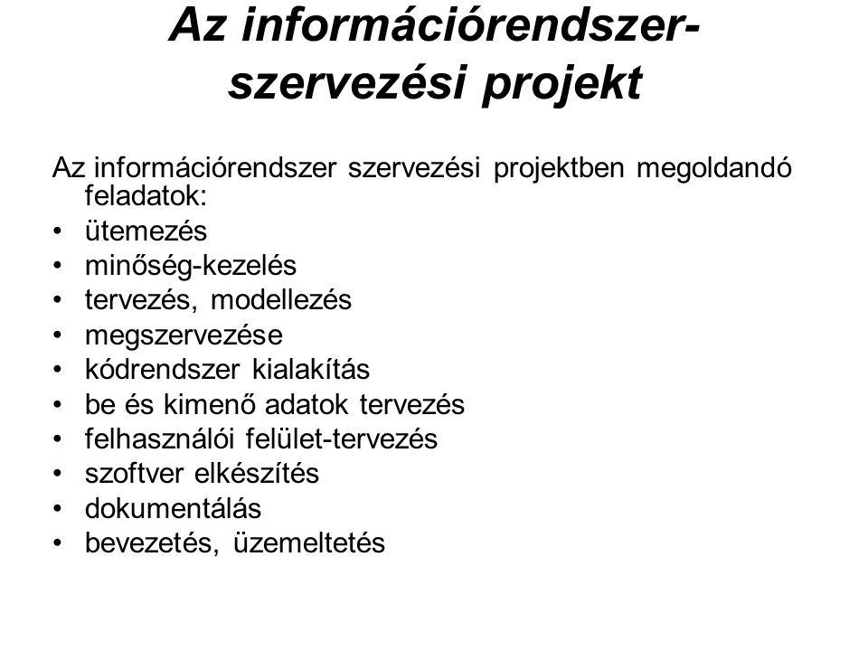 Az információrendszer- szervezési projekt Az információrendszer szervezési projektben megoldandó feladatok: ütemezés minőség-kezelés tervezés, modelle
