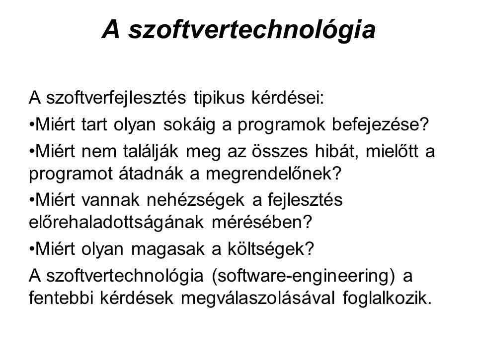 A szoftvertechnológia A szoftverfejlesztés tipikus kérdései: Miért tart olyan sokáig a programok befejezése? Miért nem találják meg az összes hibát, m