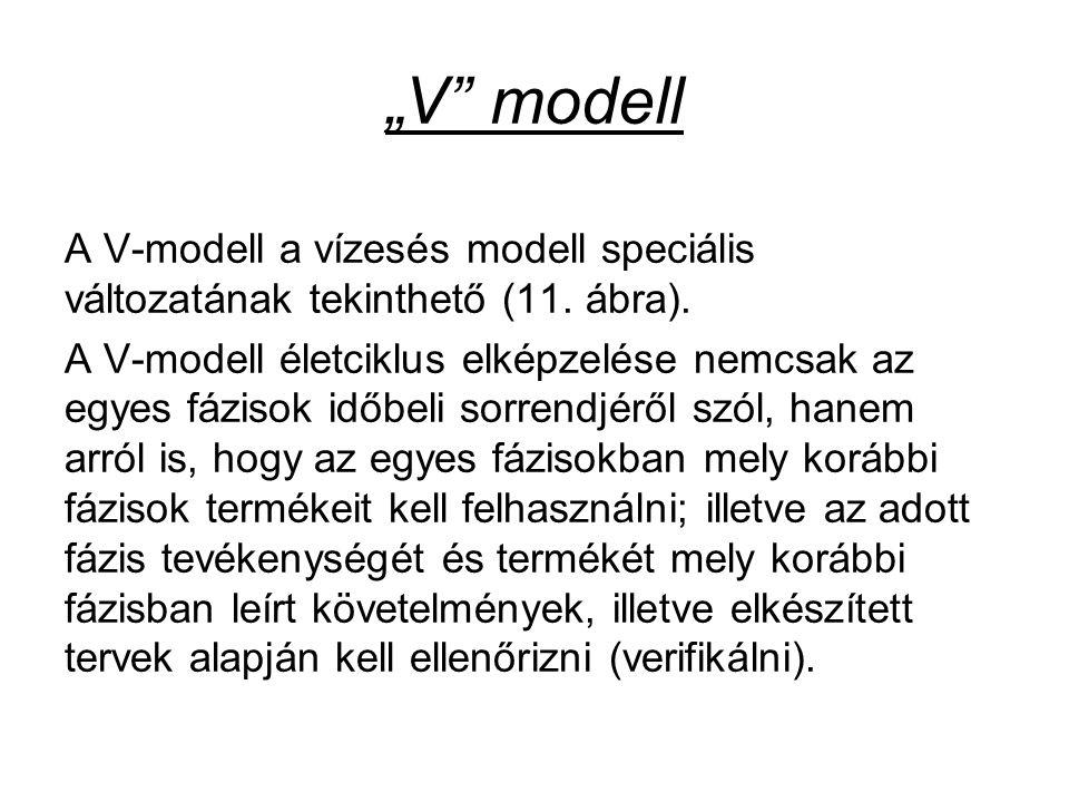 """""""V"""" modell A V-modell a vízesés modell speciális változatának tekinthető (11. ábra). A V-modell életciklus elképzelése nemcsak az egyes fázisok időbel"""