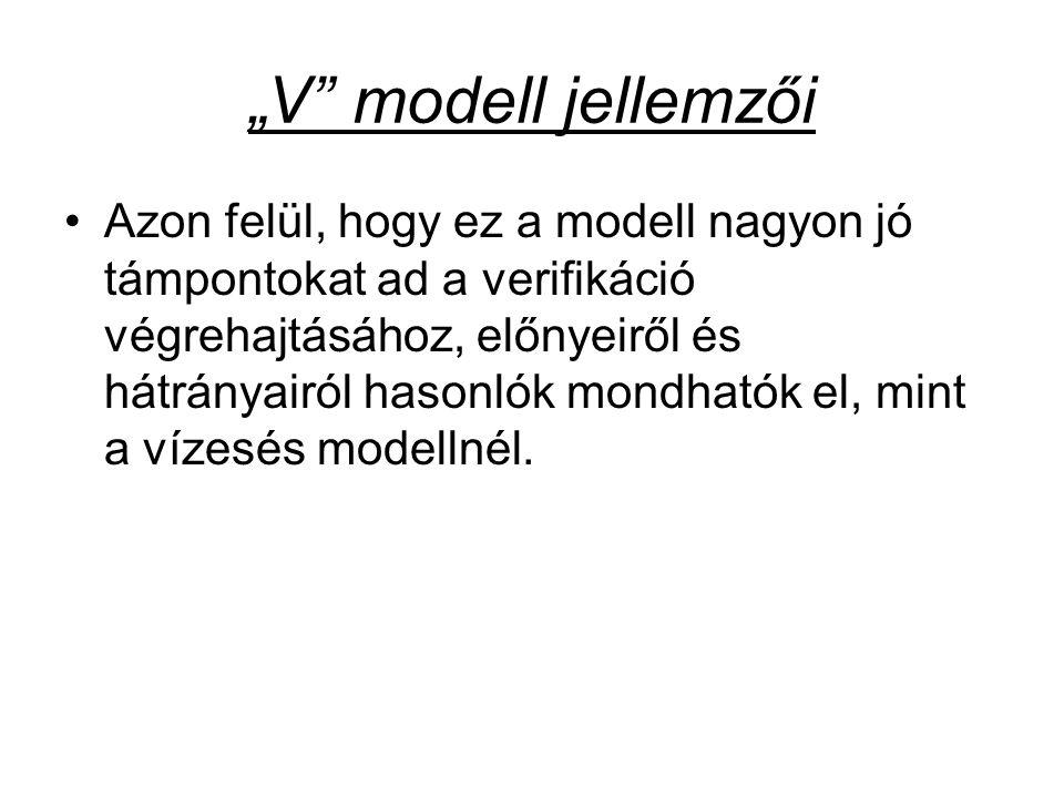 """""""V"""" modell jellemzői Azon felül, hogy ez a modell nagyon jó támpontokat ad a verifikáció végrehajtásához, előnyeiről és hátrányairól hasonlók mondható"""