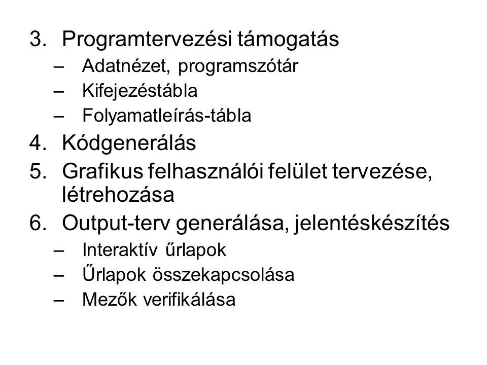3.Programtervezési támogatás –Adatnézet, programszótár –Kifejezéstábla –Folyamatleírás-tábla 4.Kódgenerálás 5.Grafikus felhasználói felület tervezése,