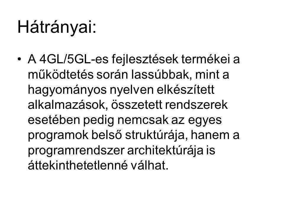 Hátrányai: A 4GL/5GL-es fejlesztések termékei a működtetés során lassúbbak, mint a hagyományos nyelven elkészített alkalmazások, összetett rendszerek