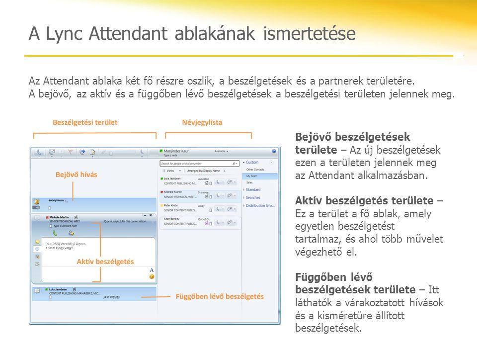Áttekintés A tanfolyam a Lync Attendant alábbi funkcióit tárgyalta: A partnerlista használata A hívásvezérlők ismertetése Hívások indítása és fogadása Több beszélgetés kezelése Csapathívási csoportok beállítása Hívások parkoltatása és visszavétele