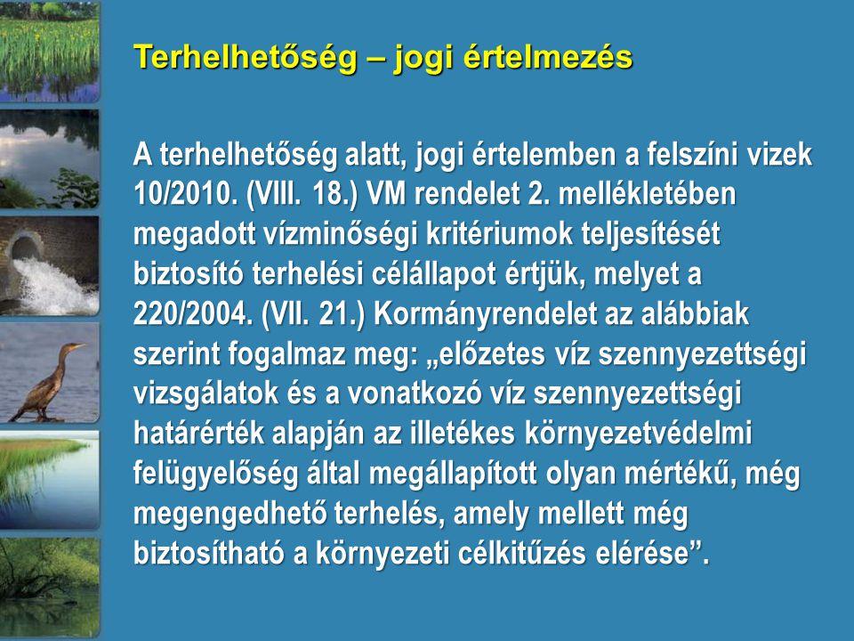 A terhelhetőség alatt, jogi értelemben a felszíni vizek 10/2010. (VIII. 18.) VM rendelet 2. mellékletében megadott vízminőségi kritériumok teljesítésé