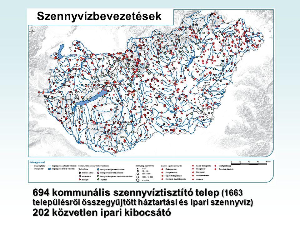 Szennyvízbevezetések 694 kommunális szennyvíztisztító telep (1663 településről összegyűjtött háztartási és ipari szennyvíz) 202 közvetlen ipari kibocs
